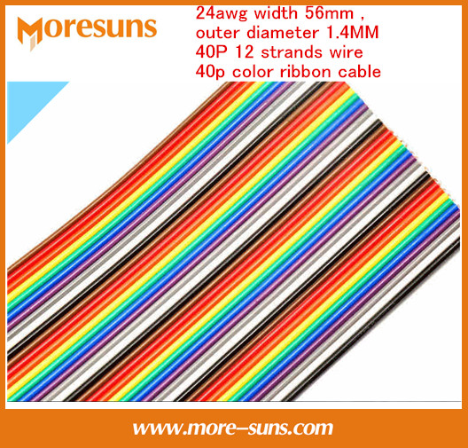 Free Ship By EMS/DHL 50m/lot High Quality 24awg Width 56mm,outer Diameter 1.4MM 40P 12 Strands Wire 40p Color Ribbon Cable