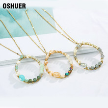 hot deal buy  oshuer 3 colors hand-woven crystal long necklaces pendants fashion women pearl  jewelry statement necklaces&pendants for women