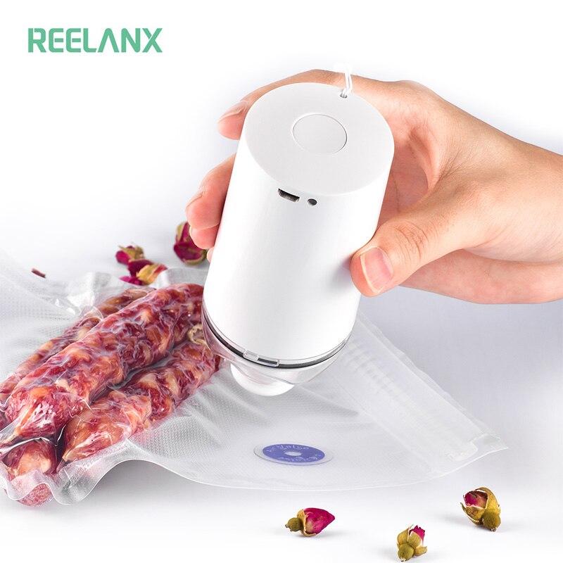 REELANX Handheld Vacuum Sealer Machine with 5 or 10 Vacuum Zipper Bags Portable mini Vacuum Pump for Sous Vide Precision Cooker machine