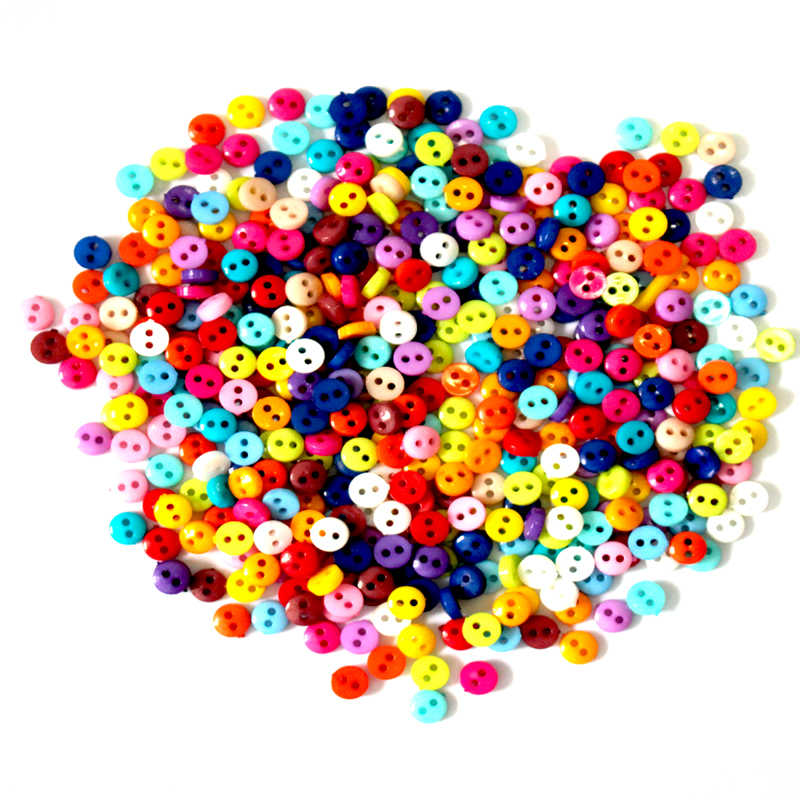 600 unids/lote 6mm redondo de resina Mini botones diminutos herramientas de costura botón decorativo Scrapbooking ropa DIY accesorios de ropa