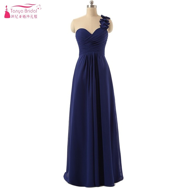 ff394bc719 Navy Blue A Line Long Chiffon Bridesmaid Dresses 2018 One Shoulder Pleated  Bridesmaids Gown-in Bridesmaid Dresses from Weddings & Events on ...