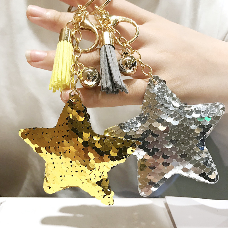 Star Tassel Keychain Glitter Pompom Sequins Key Chain Gifts for Women Llaveros Mujer Car Handbag Accessories Key Ring Chaveiro
