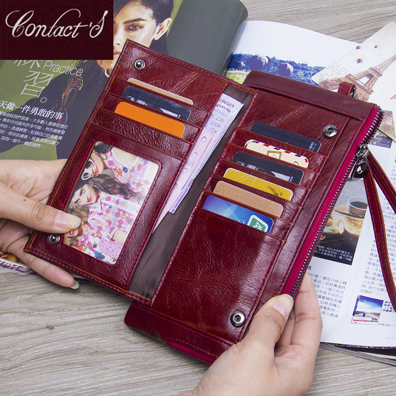 New Genuine Leather Women Wallets Classic Purse Large Capacity Wallet  Long Lady Clutch Wallet With Card Holder and Phone Bag 2017 new genuine leather wallet women lady long wallets women purse female 4 colors women wallet card holder day clutch dc156