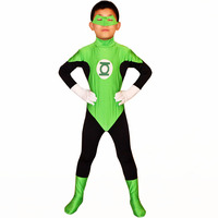 Kids Green Lantern Costume Masked Superhero Costumes Green Zentai Catsuit Lantern Cosplay Party Costume Fancy Dress