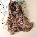 2017 nova marca de luxo lenço das mulheres de alta qualidade Bordado de lã lenços de seda verão cachecol xales wraps Foulard Bandana Feminino