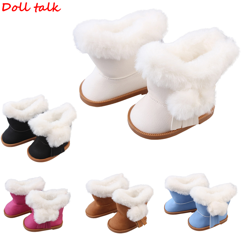 Doll Talk Plush Doll Winter Snow Boots For 18 Inch Doll Toy Zipper Keep Warm Shoes For Girl Boy Dolls Christmas Gift For Kids
