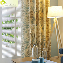 Tropical Fern Leaf Printed Faux Linen Curtains For Living Room Window  Treatments Fancy Kitchen Window Curtains For The Bedroom