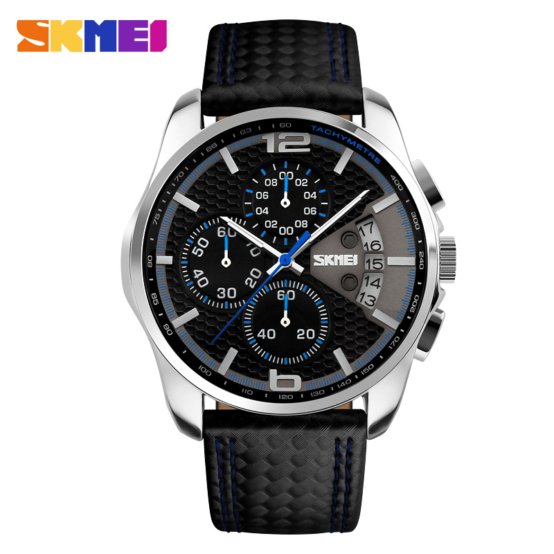 SKMEI Men Chronograph Watch Men's Quartz Watch Man Sports Watches Genuine Leather Strap Waterproof Clock Date Male Wrist Watch цена