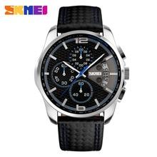 SKMEI męski zegarek z chronografem męski zegarek kwarcowy męskie zegarki sportowe pasek ze skóry naturalnej wodoodporny zegar data męski zegarek na rękę