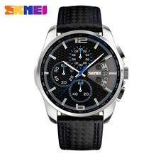 Skmei 남자 크로노 그래프 시계 남자 쿼츠 시계 남자 스포츠 시계 정품 가죽 스트랩 방수 시계 날짜 남자 손목 시계