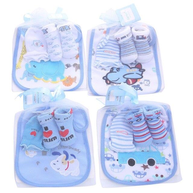 1 bolsa de Baberos de algodón para bebé conjunto de calcetines de toalla para niños recién nacidos regalo de Navidad para niñas