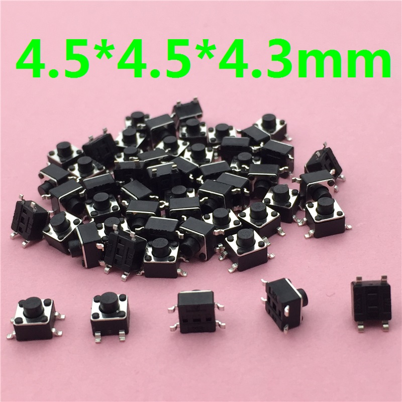 50pcs/lot 4.5x4.5x4.3MM 4PIN SMT G79 Tactile Tact Push Button Micro Switch Self-reset DIP Top Copper Free Shipping 50pcs lot 3x6x4 3mm 2pin tactile tact push button micro switch self reset free shipping