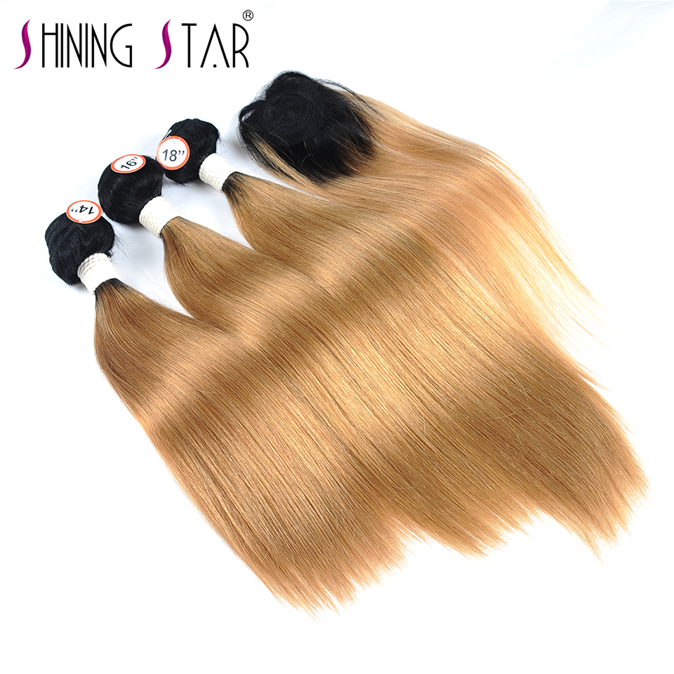 Hair Extensions & Wigs 3/4 Bundles With Closure T1b 27 Honey Blonde Ombre 3 Brazilian Straight Hair Bundles With Closure Human Hair Weave With Closure Shiningstar Non Remy Hair