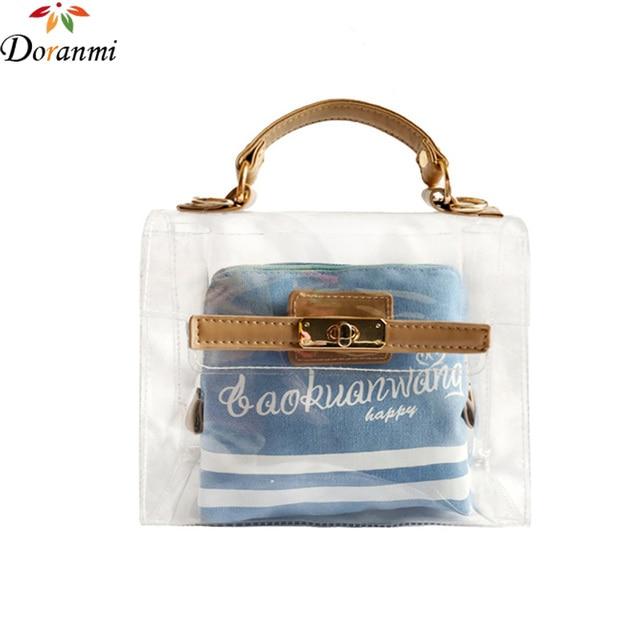 Doranmi See Through Summer Composite Bag Women 2017 Luxury Brand Designed Fashion Nylon Bags Letter