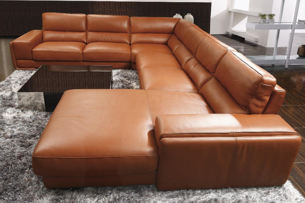 2017 High Quality Leather Sofa Living Room Furniture Set U Shape