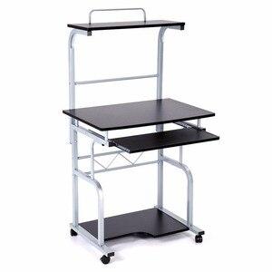 Image 4 - נייד עץ שולחן מחשב מתגלגל נייד Stand תחנת עבודה מחשב נייד שולחן לשימוש ביתי מדף ספרים שילוב אחסון מדף