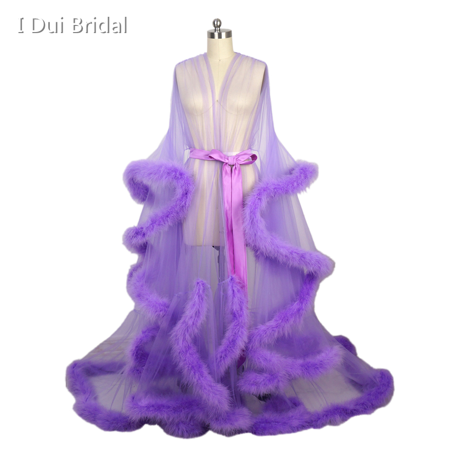 Lavender Feather Sheer Bridal Robe Tulle Long Sleeve Scarf New Custom Made Maternity Shooting Birthday Party Feather Robe