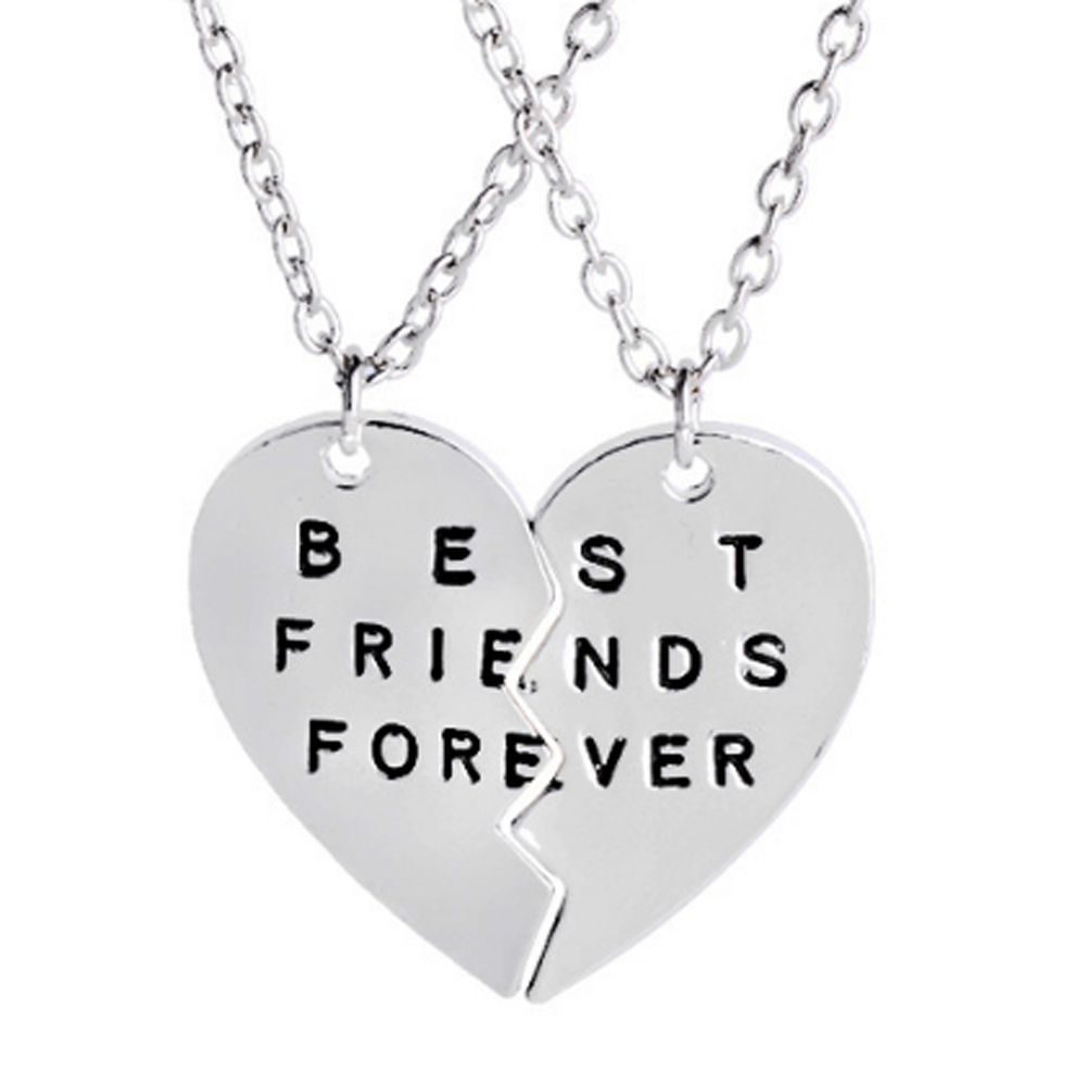 Fashion Jewelry Broken Heart Two Parts Best Friends Forever Letter Logo Pendant Necklaces For Women In From Accessories On
