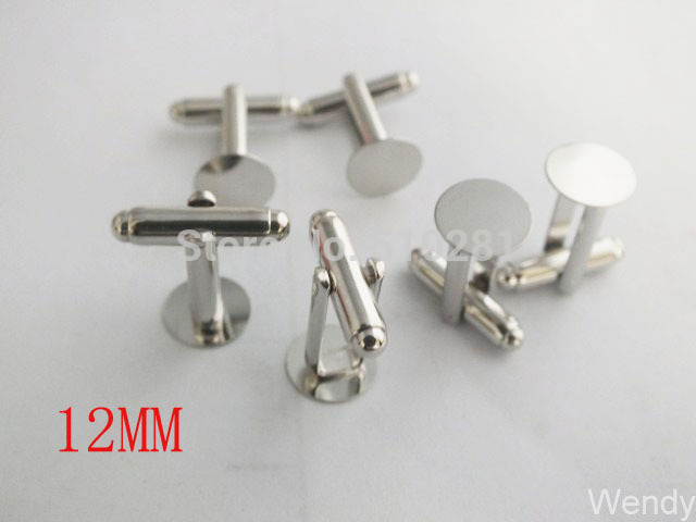 Cuff-Links Blank French with 12mm Round Flat LK-3661 Nickle-Color 300pieces