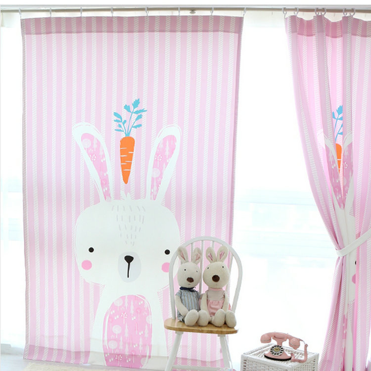 Korean style <font><b>Kids</b></font> curtains for baby room 3D cartoon rabbit curtain for <font><b>kids</b></font> baby curtains for living room corina home deco