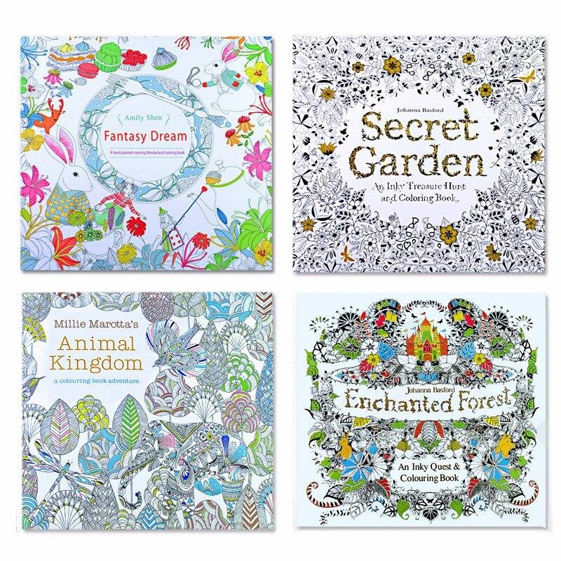 4 Uds. 24 páginas Animal Kingdom edición en inglés libro para colorear para niños adultos aliviar el estrés mata el tiempo pintando libros de dibujo
