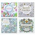 4 piezas unids 24 páginas Animal Reino inglés edición libro de colorear para niños adultos aliviar estrés matar tiempo pintura libros de dibujo