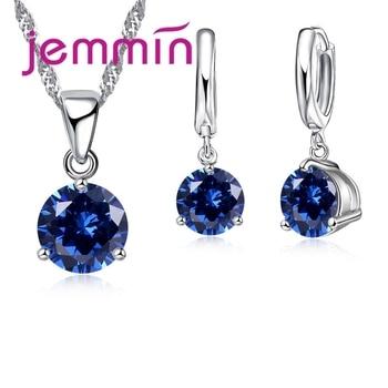 JEMMIN Women Bridal Weeding Shiny Crystal Cubic Zirconia Earrings Pendant Necklace Jewelry Fine 925 Sterling Silver Present