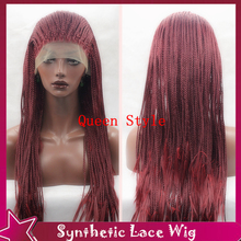 New Design Half Hand Synthetic Lace Front Wig Box Braided Lace Front Wigs Free Part Style Burgundy Full Hair Box Braids Hair Wig