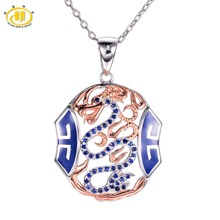 Hutang Создана в Синий Сапфир Эмаль Дракон Кулон Два тона Ожерелье Стерлингового Серебра 925 Китайский Элемент Изящных Ювелирных Изделий женщин