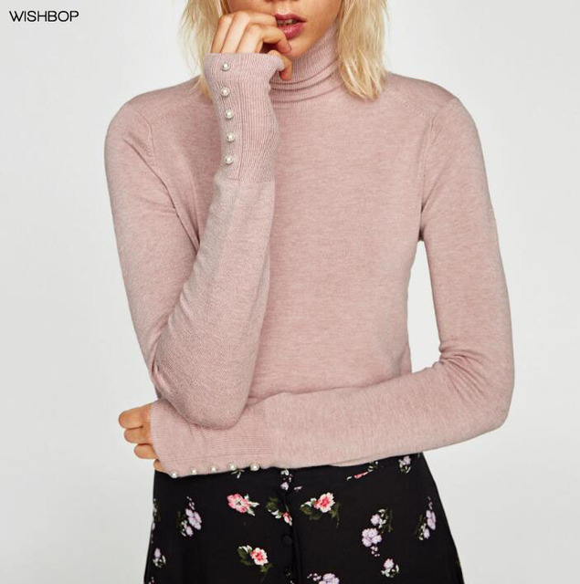 WISHBOP 2018 Fashion Woman Solid Colors POLO NECK SWEATER Long sleeves faux  pearl buttons on cuffs