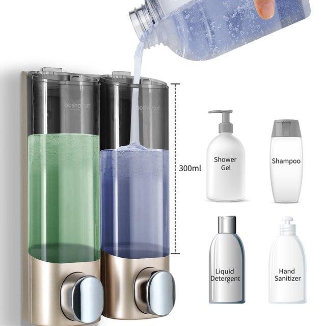 Liquid Soap Dispenser Wall Mount 300ml Bathroom Accessories Plastic Detergent Shampoo Dispensers Double Hand Kitchen Soap Bottle 1