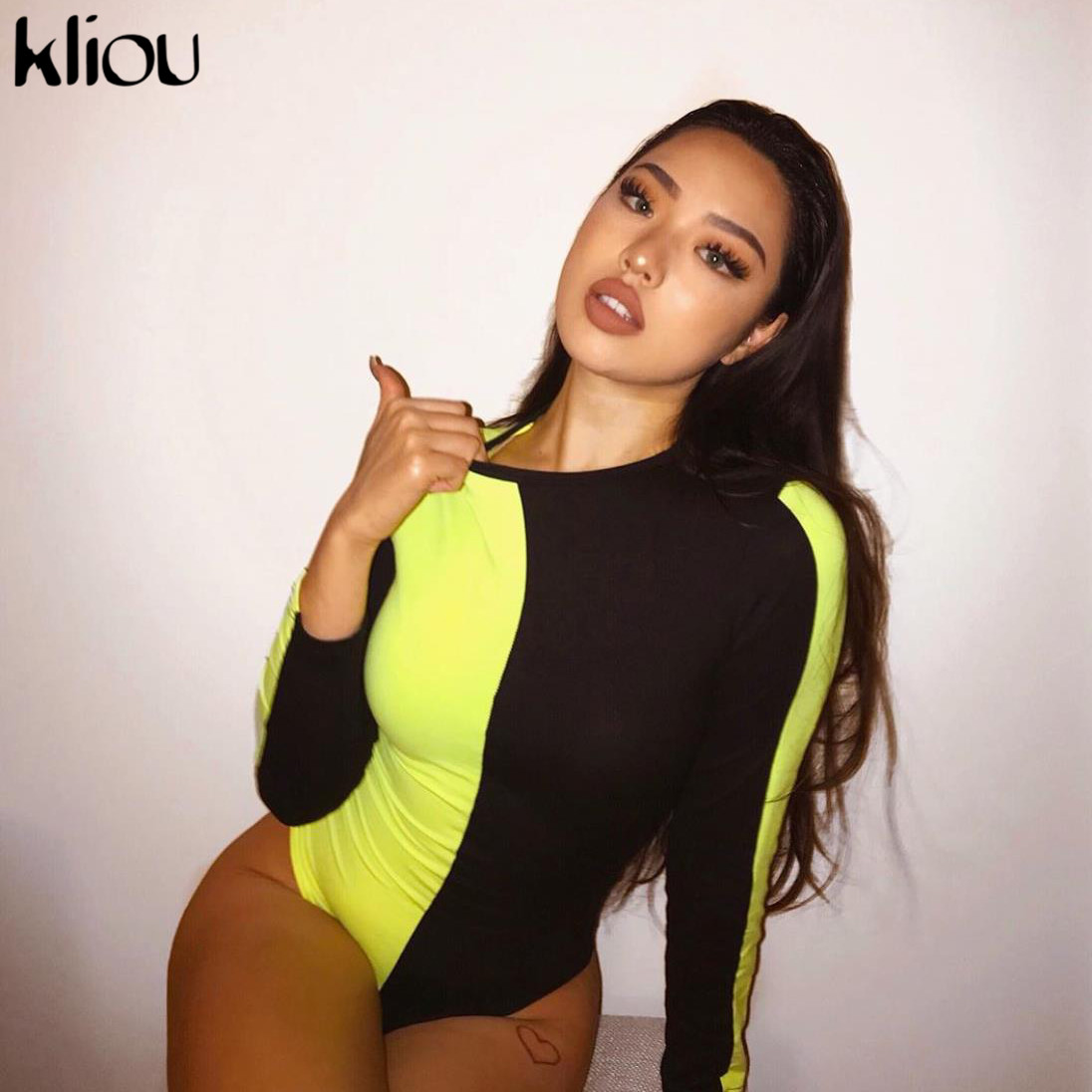 Kliou Women Full Sleeve Bodysuit O-neck Skinny Rompers Jumpsuit 2019 Summer Fashion Neon Green Orange Patchwork Playsuit Clothes