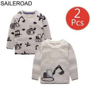 Image 1 - SAILEROAD 2 Pcs Escavatore Ragazzi di Stampa Manica Lunga Magliette e camicette per Abbigliamento per Bambini 4 Anni I Bambini Piccoli t shirt di Cotone Vestiti per Bambina