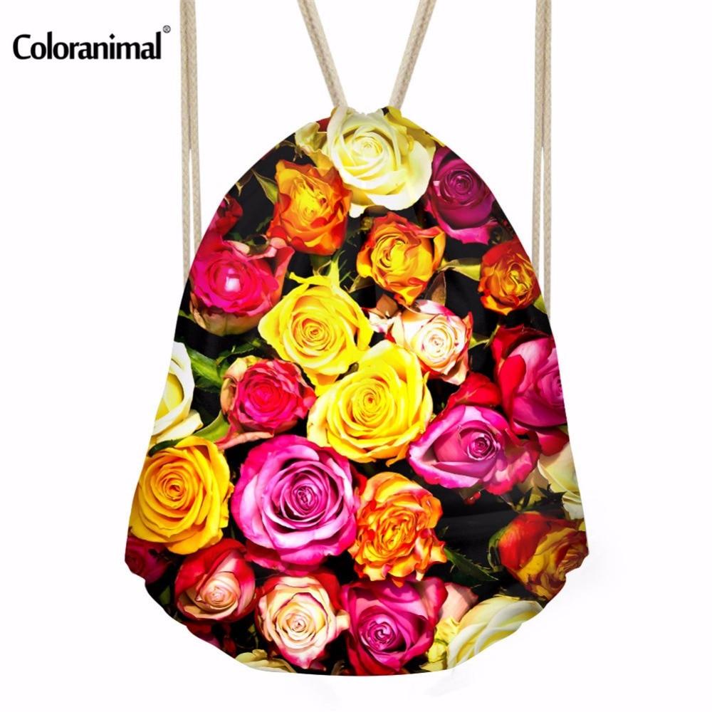 Coloranimal Flower Print Women Drawstring Bag Storage Bags Vintage College Students Schoolbag Cinch Sack  Girls Mochila Feminina