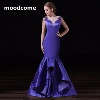 2018 Simple Cheap Prom Dresses Satin Embroidery Mermaid Pleat Sweep Train Custom Made Plus Size Formal Evering Gowns