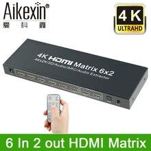 6×2 HDMI Matrix Aikexin Ultra HD 4 K x 2 K HDMI Splitter Switcher HDMI True Matrix 6 entrada 2 Saída Suporte ARC, Extrator De Áudio