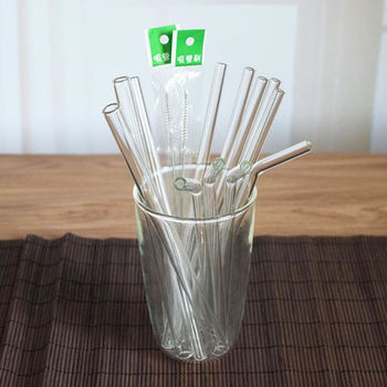 New Clear Glass 8mm Reusable Wedding Birthday Party Drinking Straws Thick Straws F20173578