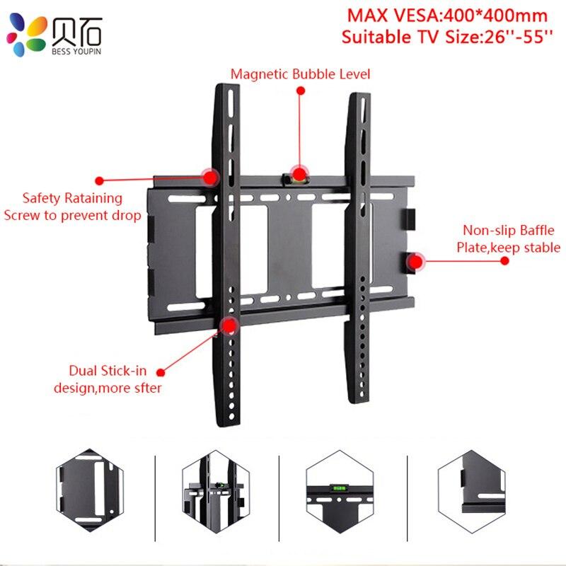 Support de montage mural TV universel 40 KG cadre de télévision à écran plat fixe pour moniteur LED LCD 26-55 pouces support de support de télévision à écran plat