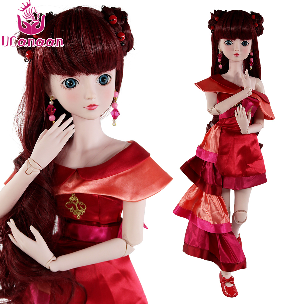 Ucanaan 1/3 Large BJD SD Doll 19 Ball Joints Body Princess Dolls Wth Dress Wig Shoes Make Up DIY Dressup Girls Toys 1 3 scale 58cm bjd nude doll diy make up dress up sd doll dia not included apparel and wig