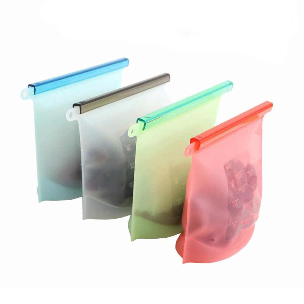 1500ml&1000ml Reusable Silicone Food Storage Bags | BEST forSandwich, Liquid, Snack, Lunch, Fruit, Freezer Airtight Seal