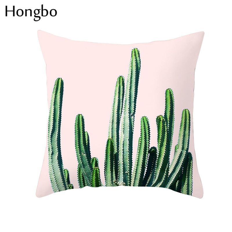 Hongbo Tropical Plants Palm Leaf Green Leaves Monstera Cushion Covers Hibiscus Flower Cushion Cover Decorative Pillow Case in Cushion Cover from Home Garden