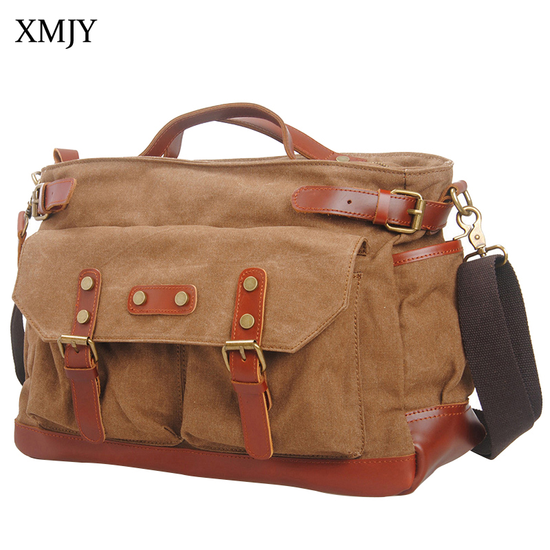 XMJY Men's Messenger Bag Canvas Totes Multifunctional Leisure Travel Shoulder Crossbody Bag Fashion Vintage Male School Bags