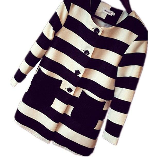 Осень Женщин черно-белый Полосатый Пиджак Тонкий Случайные Длинный рукав Пальто куртка и длинные участки пальто женщин