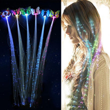 7PCS LED Brillante Glow In Fibra Della Treccia Dei Capelli Della Forcella Della Clip di Farfalla Luminosa Fascia Luminescente LED LED Del Partito Di Natale del Regalo(China)