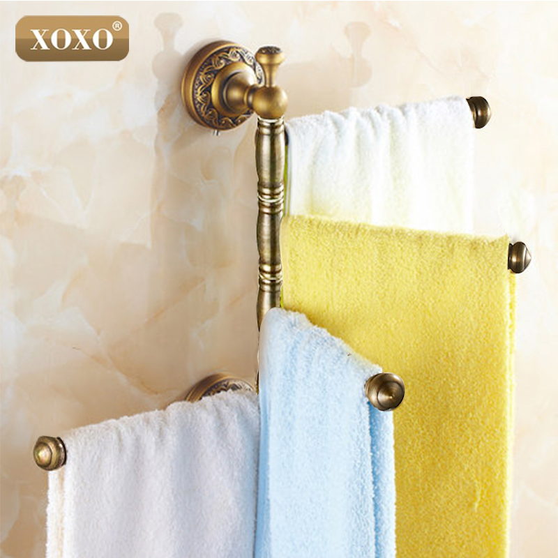 XOXO Solid Brass Vintage Style Bathroom Revolve Towel Bar Antique Brass Four Tiers Bath Towel Holder Rack Wall Mounted TL564B aluminum wall mounted square antique brass bath towel rack active bathroom towel holder double towel shelf bathroom accessories