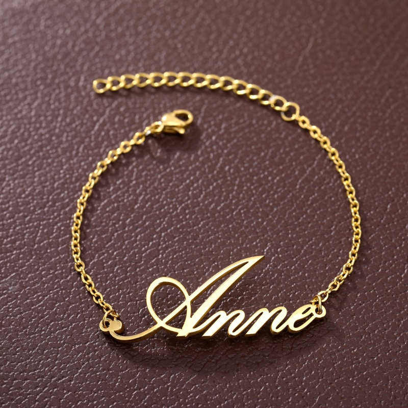 Fashion Personalized Custom Name Bracelets For Women Girls Stainless Steel Engraved Handwriting Charms Bracelet & Bangle Jewelry Jewelry & Watches