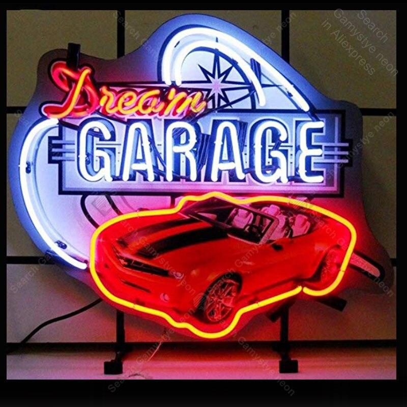 Enseigne néon pour voiture et motos Dream Garage Camar lampe verre Tube décor mur Club bière Bar artisanat Art lumière magasin affichage