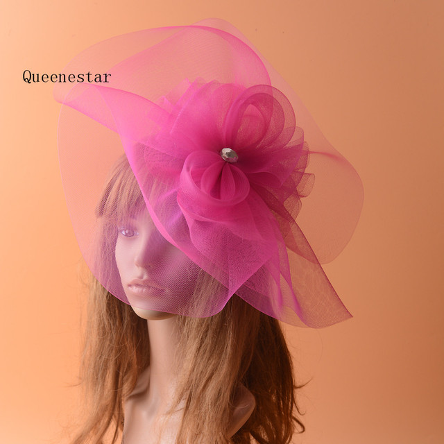 Large Mesh Feather Rhinestone Headwear Flower Hairpin Hot Pink Wedding Fascinator Hats Bridal Hair Accessories Chapeu