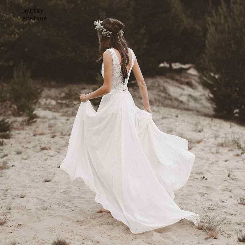 זול חוף שמלות כלה 2019 V צוואר שווי שרוול אונליין שיפון חצאית תחרה למעלה גב פתוח Boho הכלה שמלת חתונה שמלת