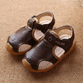 2017 New Boys Soft Leather Sandals Baby Boys Summer Shoes Prewalker Soft Sole Genuine Leather Beach Children Sandals Brown